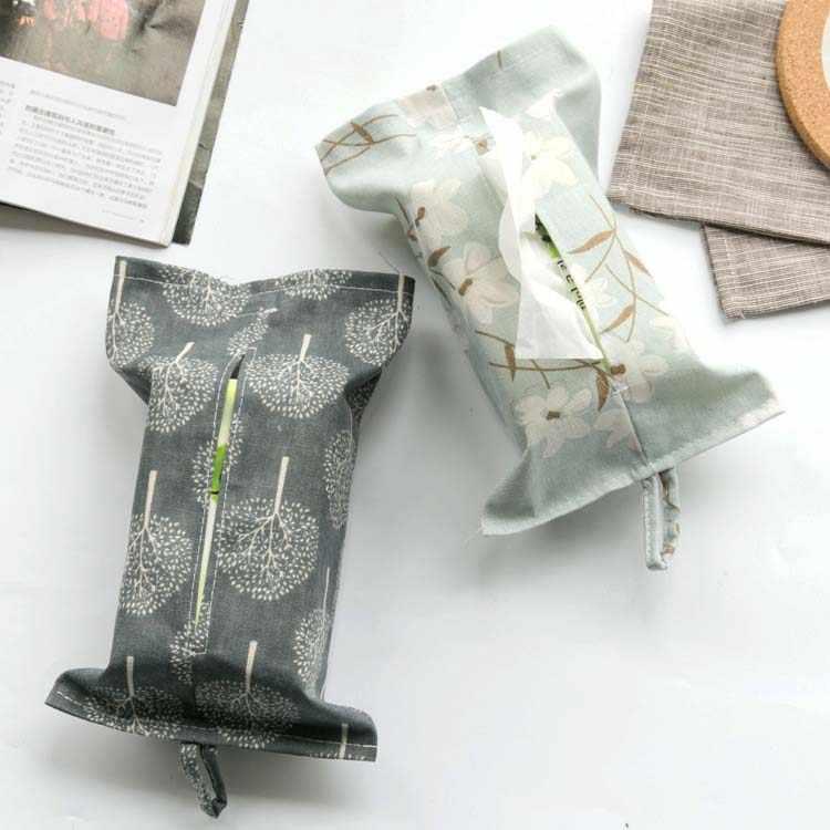 Kain Katun Linen Dekorasi Meja Rumah Mobil Jaringan Penyimpanan Case Kotak Kontainer Handuk Serbet Kertas Tas Case Kotak Dudukan Kantong