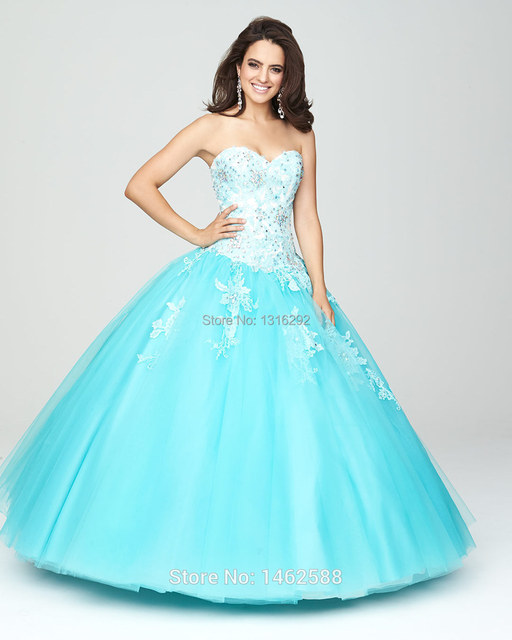 235b4e4747f White Lace Appliques Sweetheart Bodice Corset Turquoise Quinceanera Dresses  Cheap Girl Sweet 16 Party dress