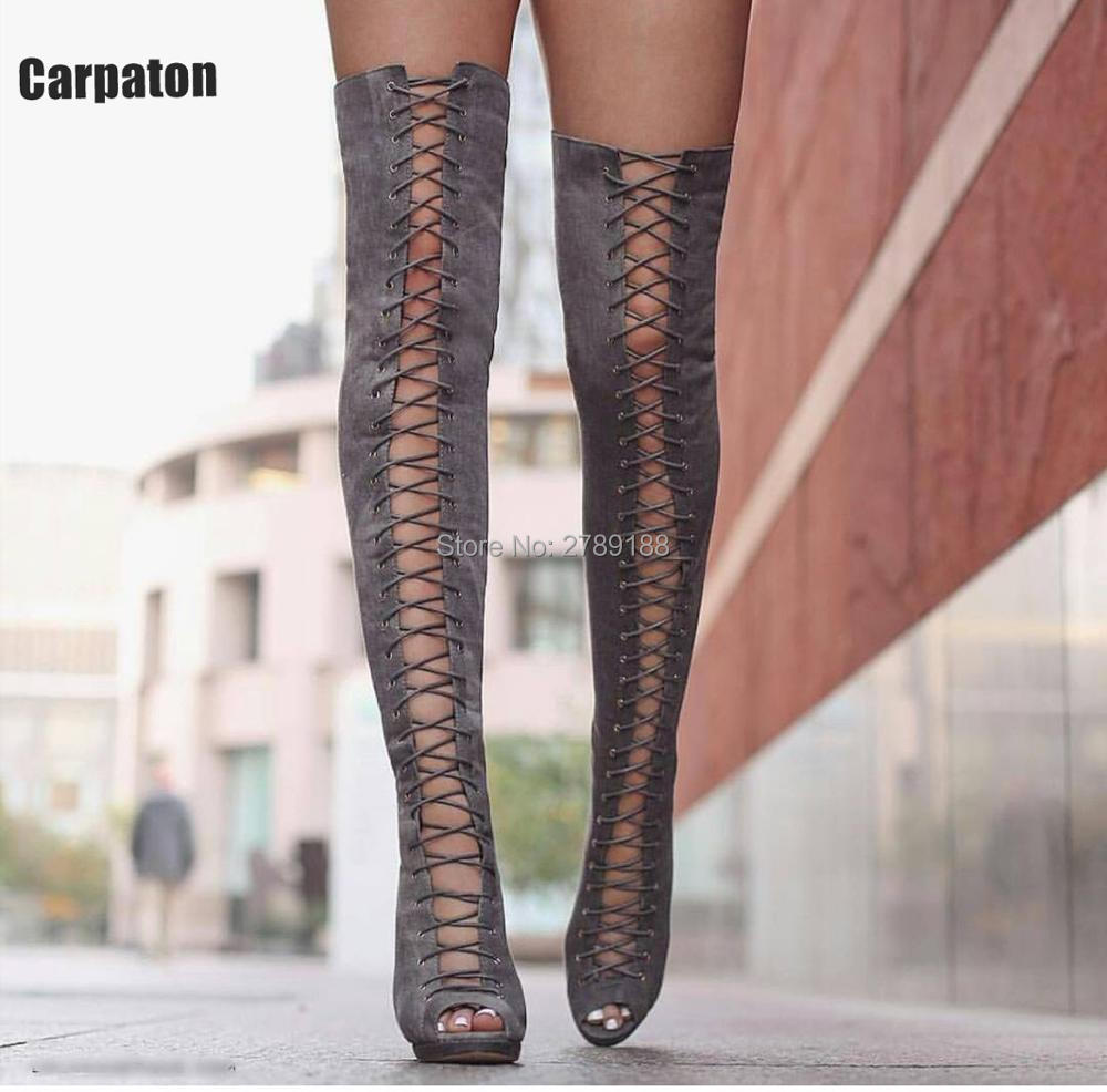 цена на Womens Peep Toe Gladiator Over The Knee High Cool Black Fashion Cut-outs Boots High Heel Lace Up Stilettos Party Zip Long Boots