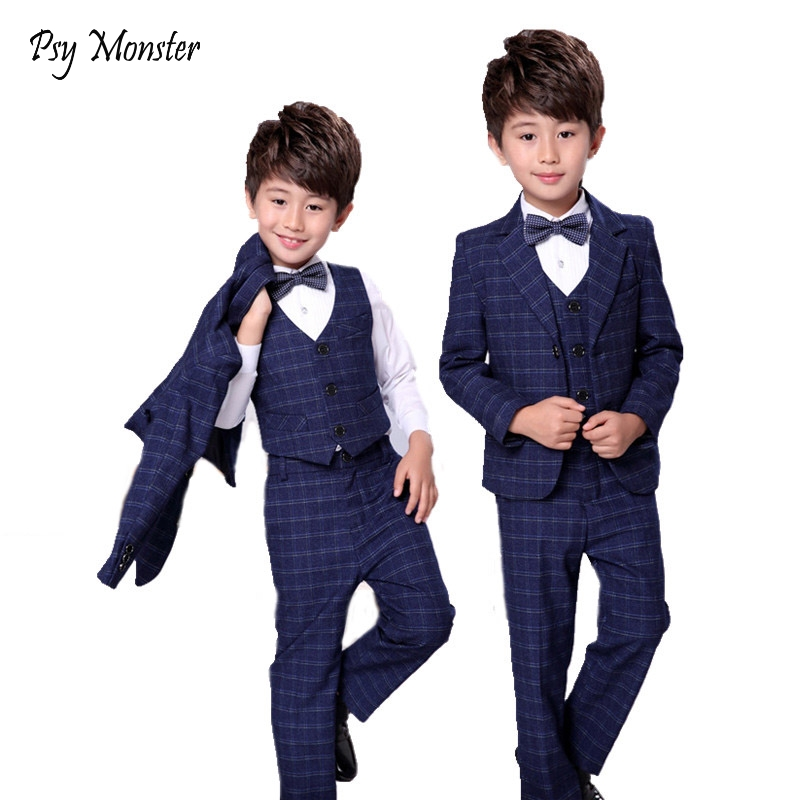 Kids Formal Clothing Sets Flower Boys Wedding Suits Plaid 3pcs Blazer+Vest+Pant Gentleman Fashion Children Party Wear F84 boy blazer suit 2018 boys 3pcs plaid formal wedding suit vest coat pant brand children party tuxedos performance wear for boys