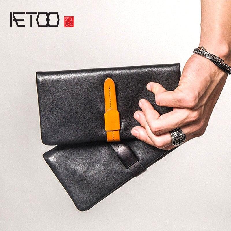 все цены на AETOO Leather men's long wallet ultra-thin mobile wallet men's personality Vintage wallet онлайн