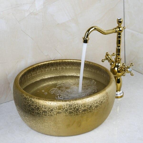 Double poignée robinet peinture ronde or bol éviers/cuve bassins lavabo en céramique lavabo et robinet robinet ensemble 46049836