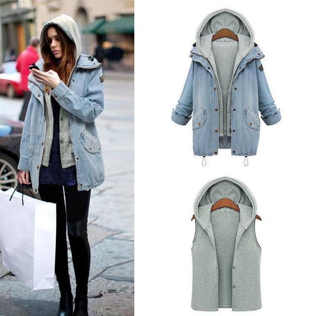 bb6d2eb46e4 US $14.99 25% OFF Aliexpress.com : Buy Women Hooded Denim Jacket Coat Jeans  Jackets Denim Coat + Sleeveless Hooded Fleece Lining 2 Pieces Set from ...