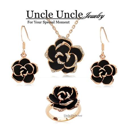Rose Gold Color Black Rose Design Austrian Crystal NecklaceEarrings