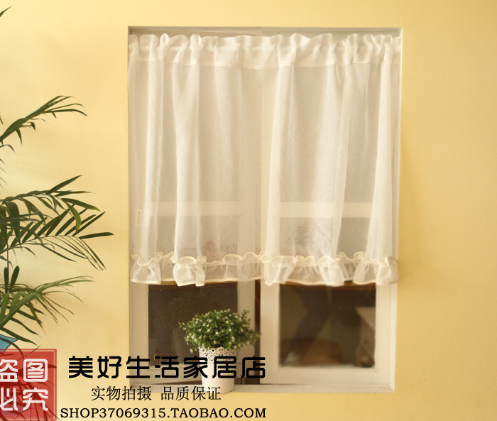 Free Shipping Korean Lovely Fresh White Gauze Country Rustic Kitchen Curtains Coffee Curtain Variety Of Specifications