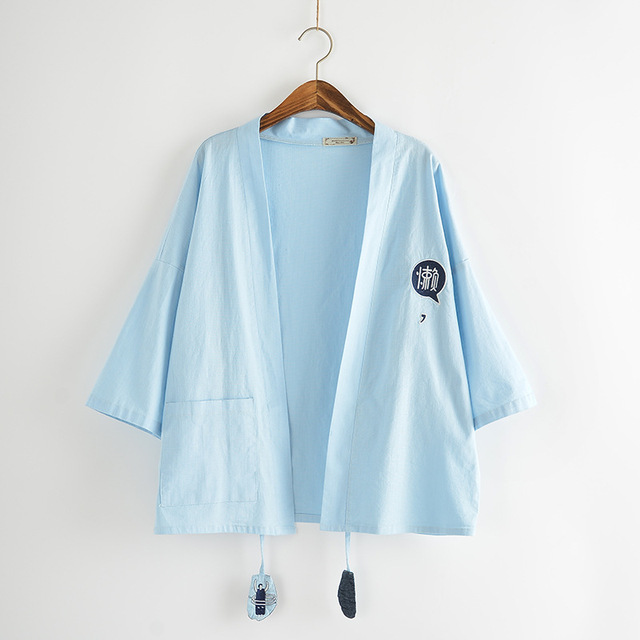 4a5f1942825dc Women s Japanese Kimono Cardigan Jacket Light Blue Cotton Linen Chinese  Embroidery Back Sashes Kimono Top Female