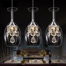 LED Кристалла Подвесной Светильник Три Головы Свет AC110V-240V Столовая Современный Краткое Современный Ресторан Подвесной Светильник