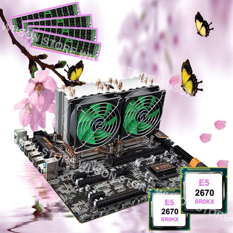 Carte mère combo HUANAN ZHI double CPU X79 de bureau carte mère double CPU Intel Xeon E5 2670 C2 2.6 GHz avec refroidisseurs 32G RAM REG ECC