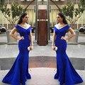 2017 Volver a los detalles del producto 2017 Robe De Soirée Caliente venta V-cuello Piso-Longitud de Las Mujeres de La Sirena de Noche Largo Azul Real vestidos