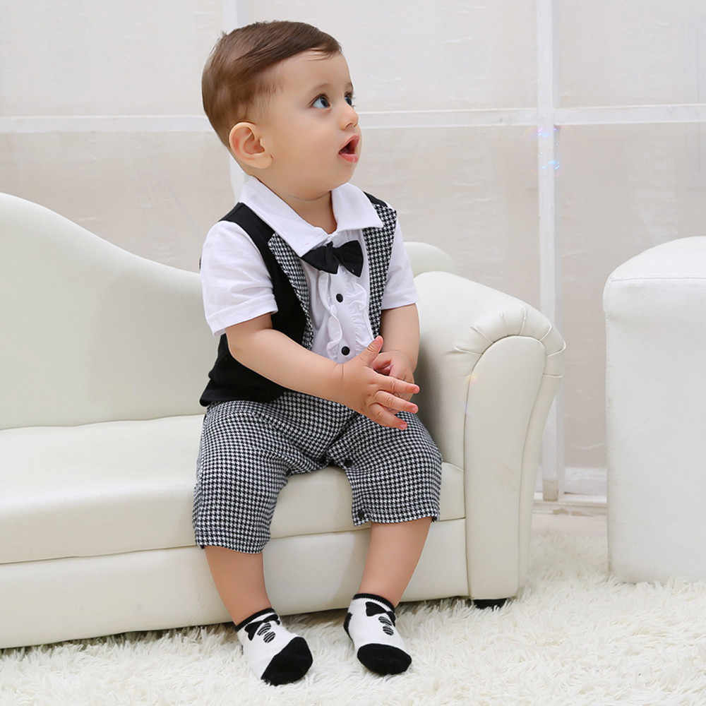 Toddler Baby Boys Gentleman Bowtie Plaid Swallowtail Romper Costume For Boy Voetbal Pakjes Kinderen Boys Outfits Dropshipping