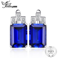 JewelryPalace Luxury Emerald Cut 12.1ct Blue Created Sapphires Clip On Earrings Real 925 Sterling Silver Jewelry Fashion Earring