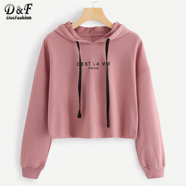 f0cc6694749 Dotfashion Drawstring Pink Letter Drop Shoulder Crop Hoodie Women Casual  Autumn Hooded Pullovers Long Sleeve Preppy Sweatshirt