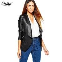 Women Jackets Eliacher Brand Winter Spring Jacket Women Black Plus Size Casual Women Faux Leather Jacket