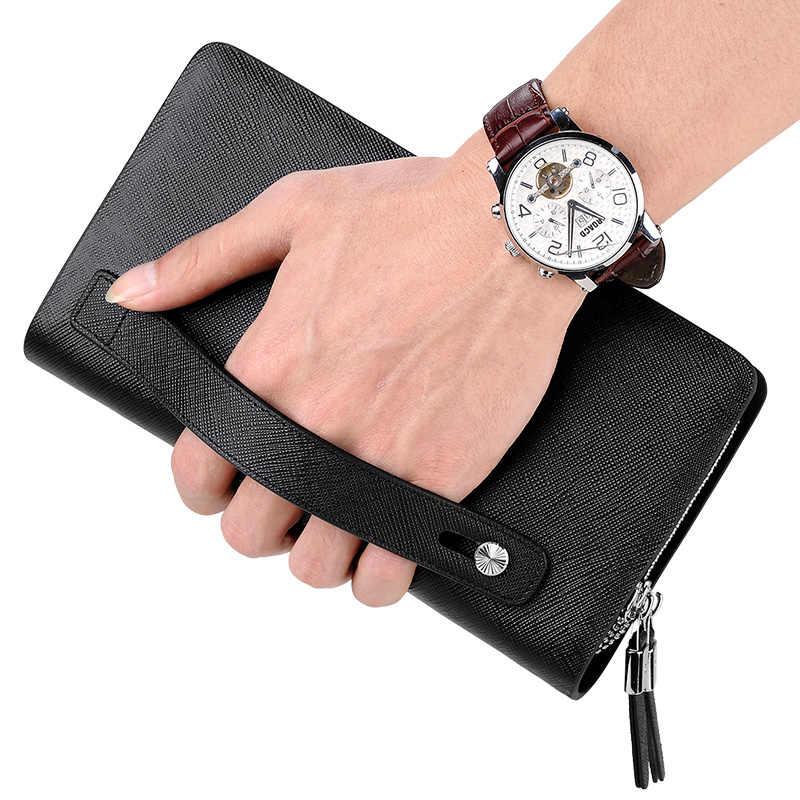 2019 новый мужской клатч-кошелек из натуральной кожи на ремешке с клапаном, клатчи с 21 держателем для карт, элегантный удобный кошелек для мужчин