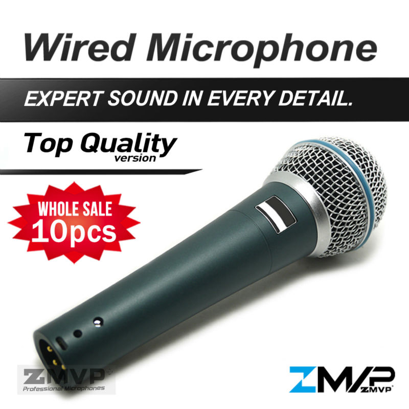 ¡Envío libre! 10 piezas calidad superior Versión B 58 un profesional Karaoke Vocal dinámico de mano 58A micrófono de micrófono Mic