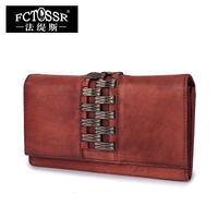 Leather Wallet Women 2017 Vintage Genuine Leather Clutch Purse Handmade Card Holder Long Lady Wallets