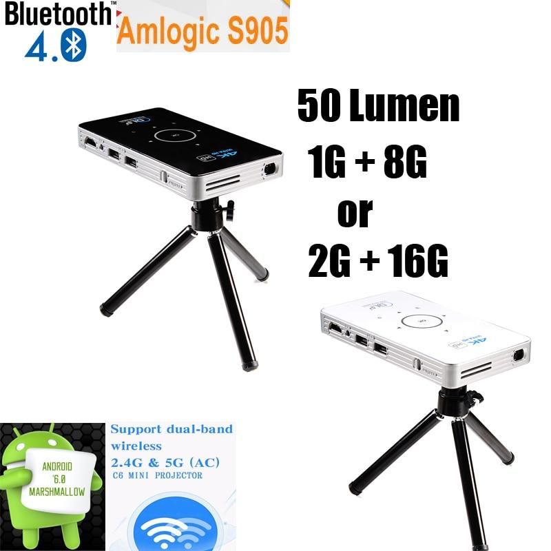 pico projector 4k dlp mini pocket jwifi project C6 1G+8G/2G+16G bluetooth 50 lumen Android6.0 quad core dual band wifi vs h96-p pocket projector c2 dlp projector full hd portable wifi project android os 1g 8g led home cinema bluetooth4 0 projector mini pc