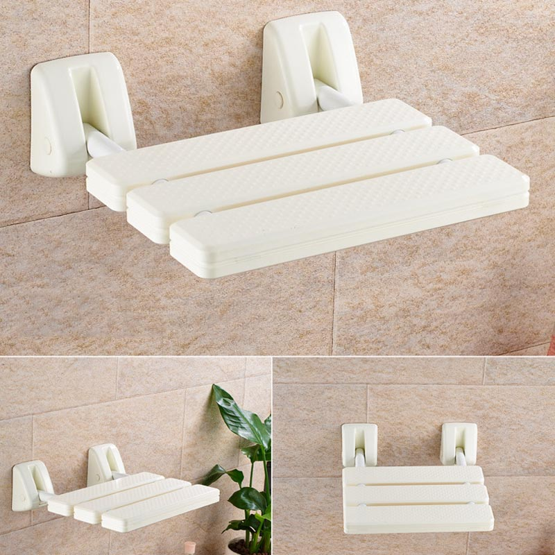 Folding Wall Shower Seat Wall Mounted Relax Shower Chair Solid Seat Spa Bench Bathroom Supplies MJJ88