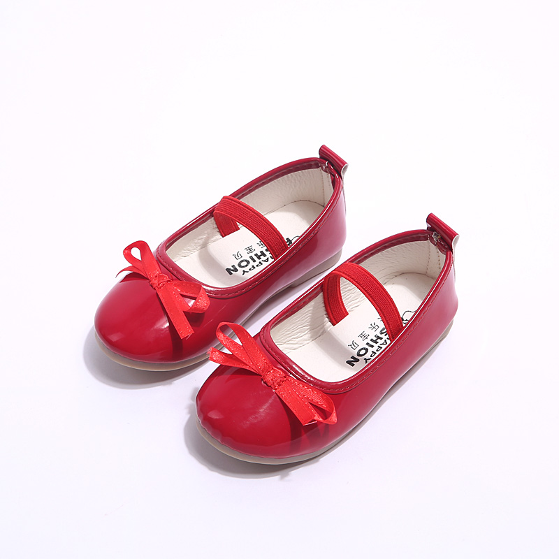 Baby Girl Shoes Patent PU Leather With Bow-knot Kids Single Shoes Children Princess Girls Loafers Sneakers Bow-tie Soft
