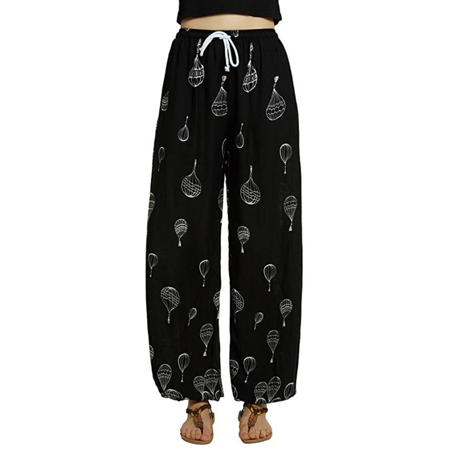 2018 New   wide     leg     pants   Womens Mid-Waist Casual Floral Print Boho   Pants   Harem   Pants   Jogger sports   pants   for women