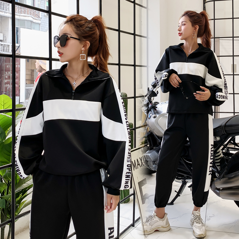 Spring Autumn Sportswear 2 Piece Sets Womens Outfits Casual White Stripes Long Sleeve Tops+pants Female Two Piece Suit Clothes