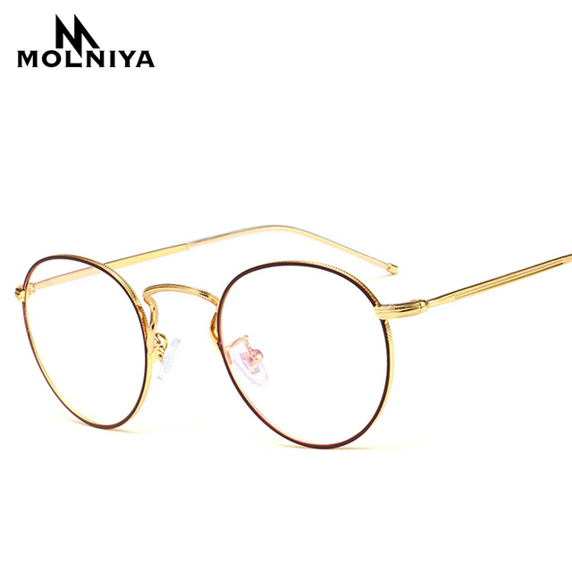 b426670ef82 MOLNIYA Round Nerd Glasses Clear Lens Unisex Fashion Gold Round Metal Frame  Glasses Frame Optical Men Women Black G08