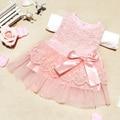 Baby girls vestidos niños ropa de algodón niños arco de encaje balón vestido de princesa dress casual caliente