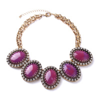 Costume Party Europe Women Fashion Jewelry Big Oval Gem Purple Chunky Bib Necklace With Extension Chain