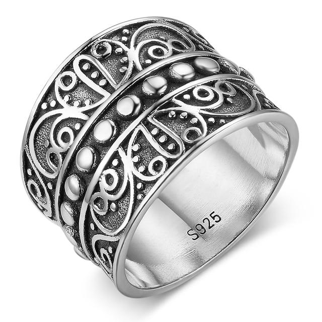 Solid 925 Sterling Silver Rings 15.5MM Width Mysterious Pattern Vintage Rings We