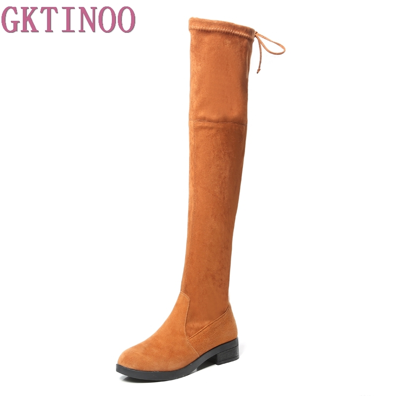 GKTINOO Genuine Leather Over The Knee Boots Square Med Heel Women Boots Sexy Ladies Lace Up Stretch Fabric Fashion Boots Winter vallkin 2018 lace up women boots rhinestone square high heel over the knee boots stretch fabric wedding ladies boots size 34 43