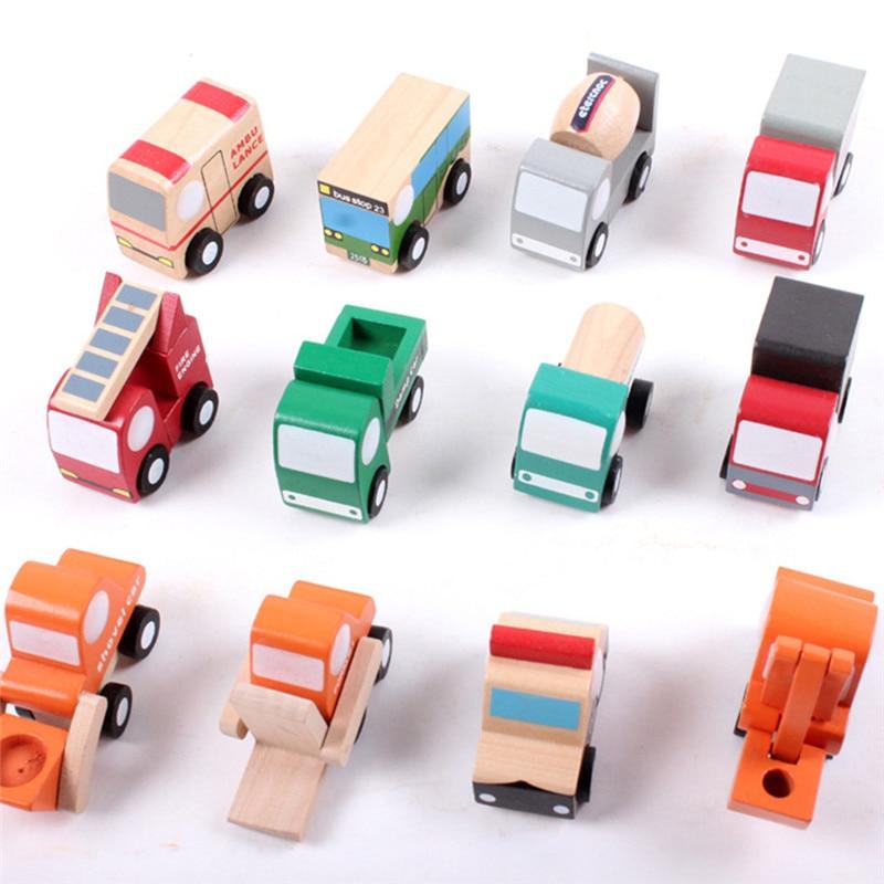 Mini Cartoon Wooden Model Car kids toys Inertia Car Toy For Children Baby Education Birthday Giftbnrw