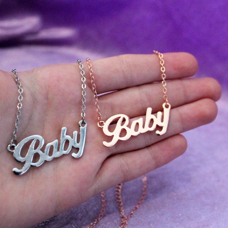 Baby Necklace Stainless Steel Baby Necklace Baby Girl Gift Jewelry Send Girlfriend Send Valentine Gift FC0088 in Pendant Necklaces from Jewelry Accessories