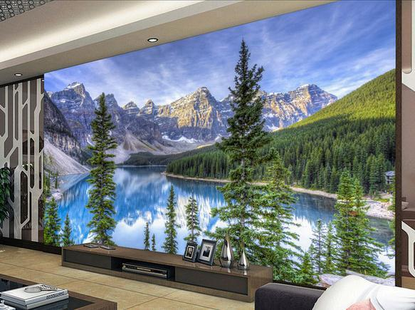 Customize Size Green Forest Canyon Mural Wallpaper Non Wvoen Factory Direct20151548