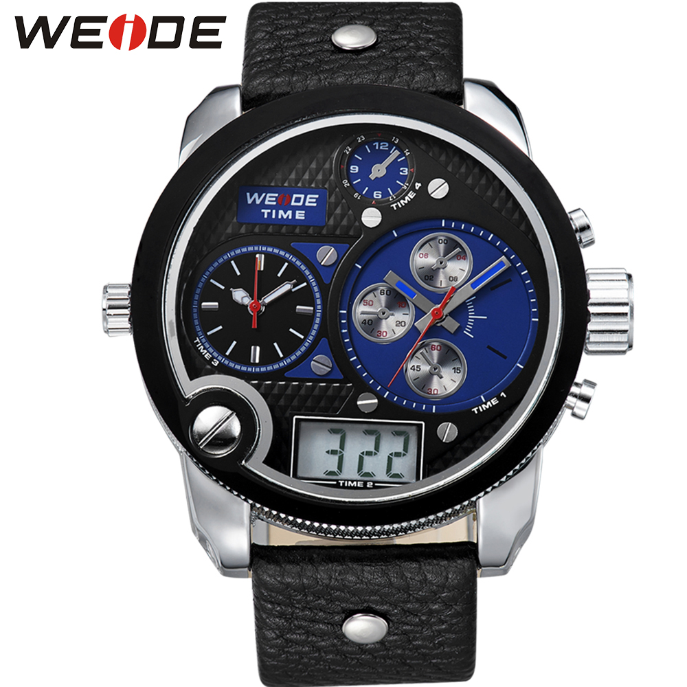 ФОТО WEIDE Luxury Brand Running Waterproof Sport Watches For Men Blue Dial Analog Digital Display Wrist Watch Gifts For Men