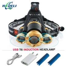 Zoom IR Sensor de Indução led lâmpada de cabeça cree t6 XML farol Micro USB luzes de Farol cabeça da tocha 18650 Lanterna à prova d' água
