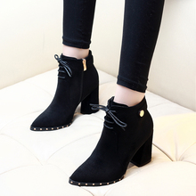 Ladies Pointed Toe High Heel Shoes Martin Boots Woman Boots Solid Lace Up Womens Casual Shoes Comfort Autumn Shoes CH-A0110 2018 ladies boots round toe flat shoes woman ankle boots lace up canvas boots women casual shoes comfort autumn shoes woman