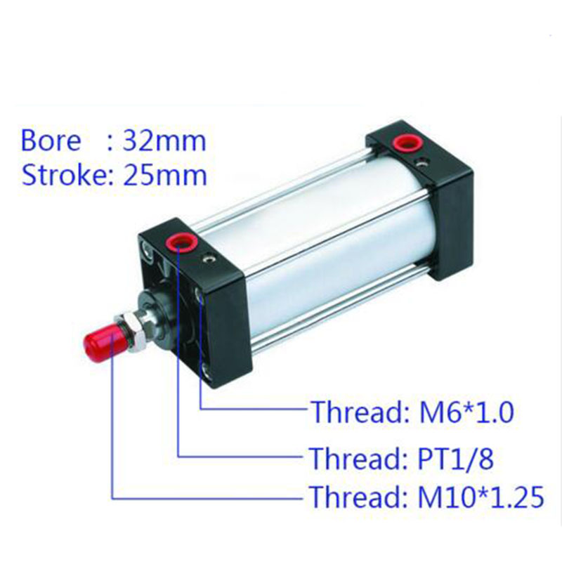 SC32*25 Free shipping Standard air cylinders valve 32mm bore 25mm stroke SC32-75 single rod double acting pneumatic cylinder free shipping sc series 32x75 double acting pneumatic air standard cylinder 32mm bore 75mm stroke 5pcs in lot