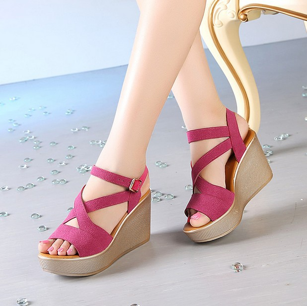 645ebb199bfe64 Women Sandals 2017 Summer New Open Toe Fish Head Fashion platform High  Heels Wedge Sandals female shoes women platform shoes-in Women s Sandals  from Shoes ...