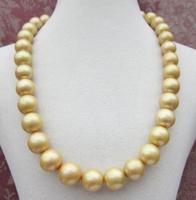 Huge AAA 12 15mm NATURAL south sea Golden round pearl pendant necklace shipping free