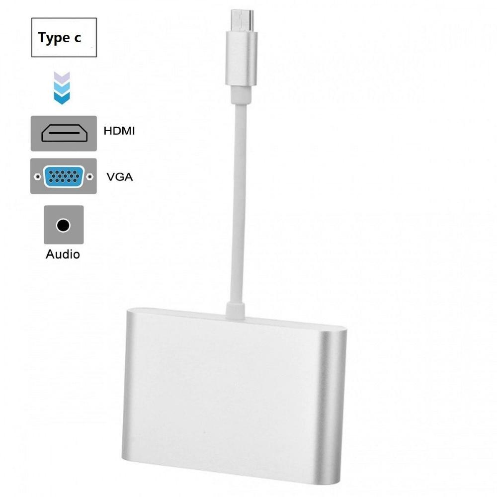 Angemessen Usb 3.1 Typ C Zu Hdmi 4 Karat Konverter Adapter Kabel Mit Vga 3,5mm/aux Audio Video Converter Adapter Für Pc Laptop Macbook Google