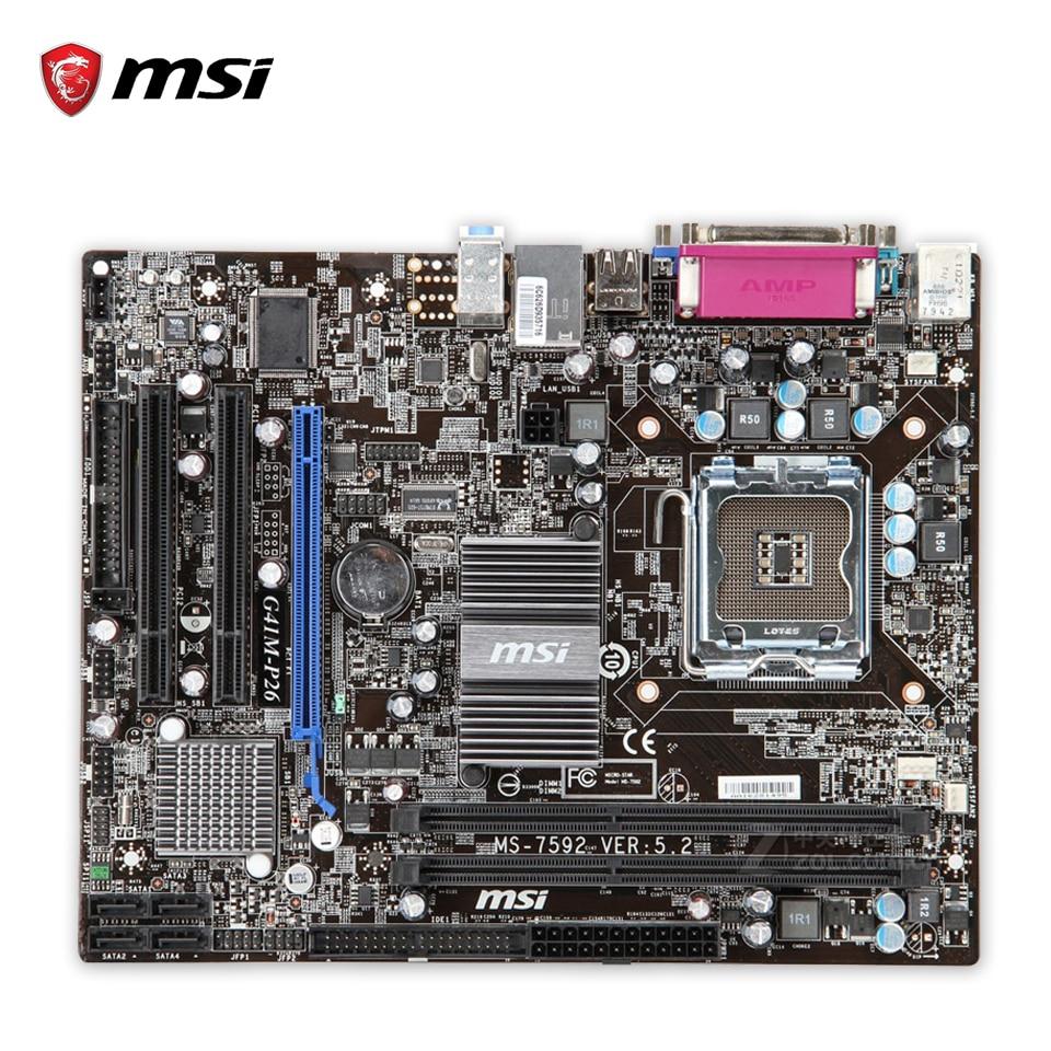 MSI G41M-P28 Original Used Desktop Motherboard G41 Socket LGA 775 DDR3 8G SATA2 USB2.0 Micro-ATX msi g41m p43 combo original used desktop motherboard g41 socket lga 775 ddr3 8g sata2 usb2 0 micro atx