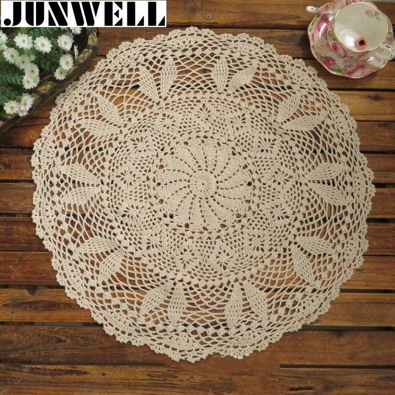 60CM RD Shabby Chic Vintage Crocheted Tablecloth Handmade Crochet Coasters  Cotton Lace Sofa Cover(China