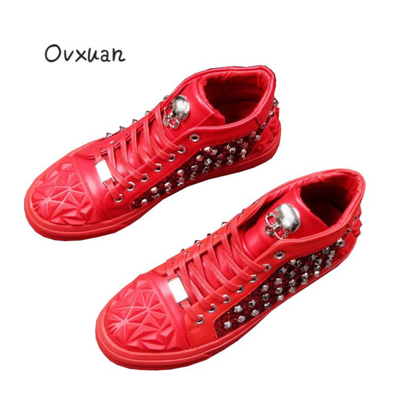 Ovxuan 2018 Metal Skull Buckle Men Loafers Luxury Brand Italian Designer Rivets Men Shoes Fashion Party and Prom Men Dress Shoes
