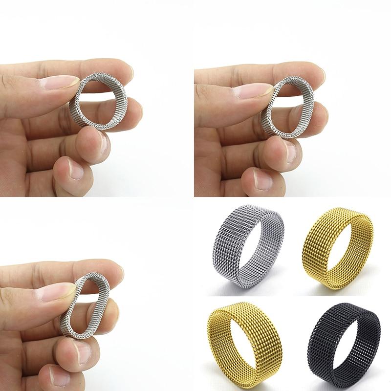 Penghantaran Percuma 8mm lebar keluli tahan karat cincin titanium - Perhiasan fesyen - Foto 2