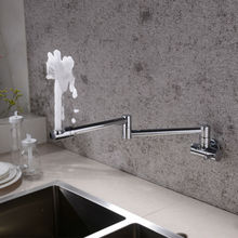 Brass Wall Mounted Kitchen Faucet Pot Filler Faucet Swivel Folding Retractable Rotary Stretch Basin Faucet