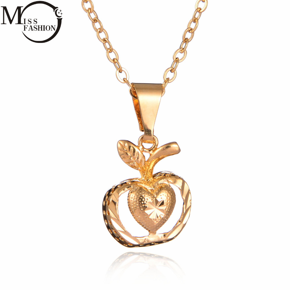 MISS FASHION Women Ladies Gold Color Apple/Heart Design Pendant ...