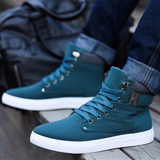 Nueva Marca de Los Hombres Planos del Talón de Los Zapatos de Otoño Invierno Del Tobillo Plana Zapatos Casuales masculinas de Estilo Británico Zapatos de Lona de Los Hombres Más Tamaño 37-46