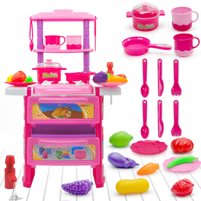 Classic Toys Pretend Play Kitchen Toys Set Faucet Sound And Light Tableware Simulation Fruit And Vegetable Sets