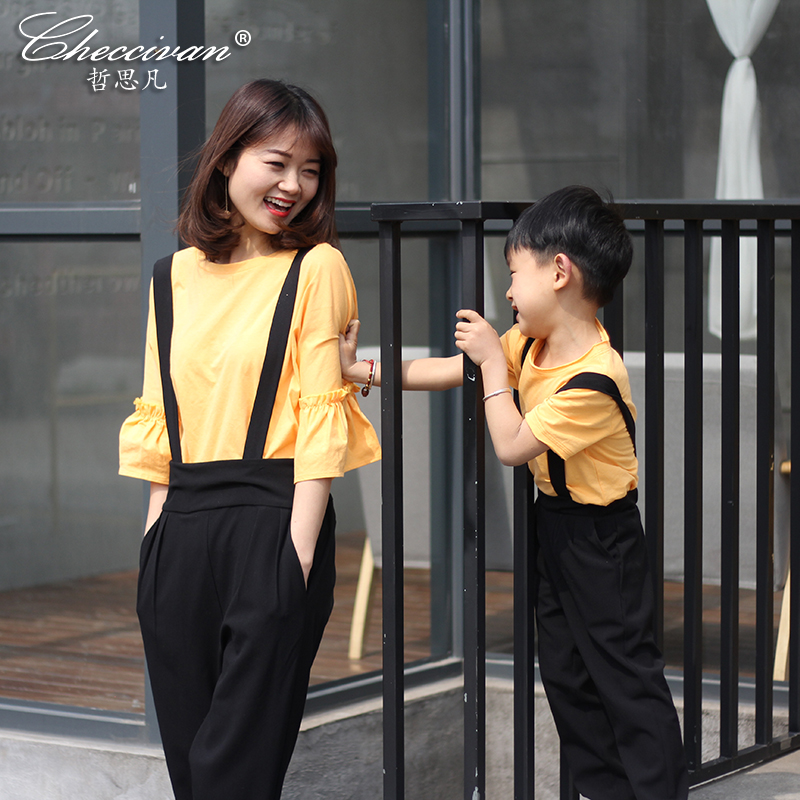 Checcivan Family Fashion T-shirts 2017 Spring Mother &Child Clothes Boys' Short-sleeve Tshirt Mom &Daughter Flare Sleeve T-shirt 2015 family summer stripe short sleeve t shirt shorts skirt set fashion sports clothes for mom and daughter free shipping a048