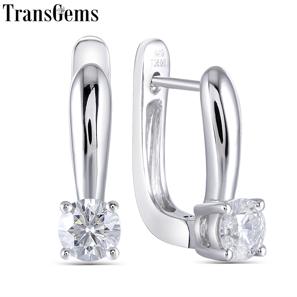 Transgems 14K White Gold 1 0CTW Carat 5MM F Color Moissanite Hoop Earrings for Women Wedding Engagement Birthday Gift in Earrings from Jewelry Accessories